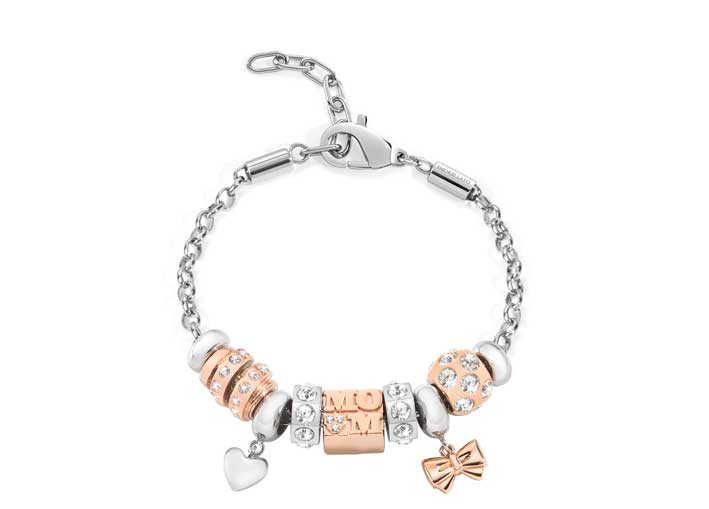 Catena con perle di metallo e cristalli