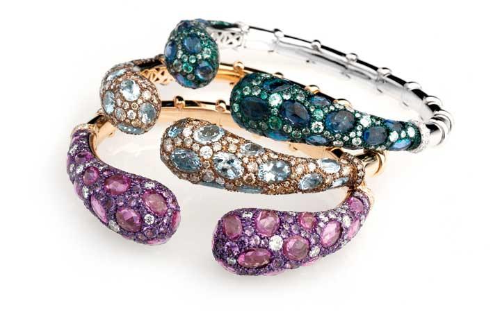 Bracciali con diamanti bianchi, zaffiri rosa, lavanda, verdi e blu, diamanti champagne ed acquemarine
