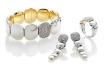 Double bianco: bracciale, orecchini e anello