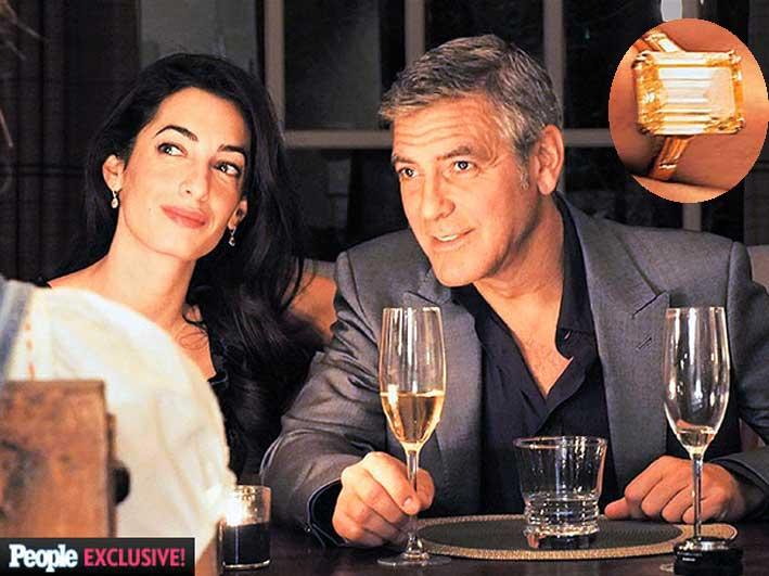 George Clooney con la partner, Amal Alamudin. Nel tondo, l'anello da 450 mila euro