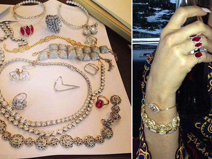 Il gioielli indossati da  Kim Kardashian nei suoi tre giorni di festeggiamento tra Parigi e Firenze