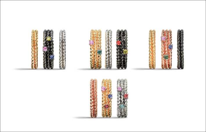 Twist: anelli doppia- tripla treccina lisci e con diamanti e zaffiri. Prezzi: lisci 60 euro; doppi con un diamante 0,05 carati 110 euro; tripli con un diamante e uno zaffiro 145 euro; doppi con un diamante e due zaffiri 160 euro.