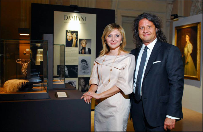 Silvia Damiani e Guido Grassi Damiani all'inaugurazione della mostra Damiani 90 Years of Excellence and Passion