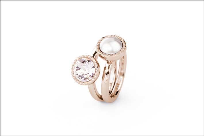 Anelli in acciaio 316L, pvd oro rosa, cristalli e perle Swarovski Elements