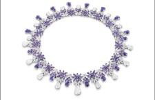 Collana della linea Ghirlanda: ametiste, quarzo milky e diamanti