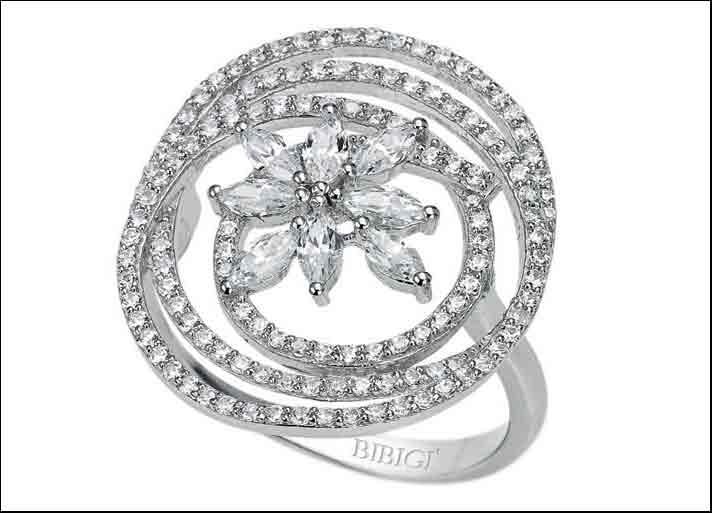 Bibigì, Giglio: anello in argento e cubic zirconia
