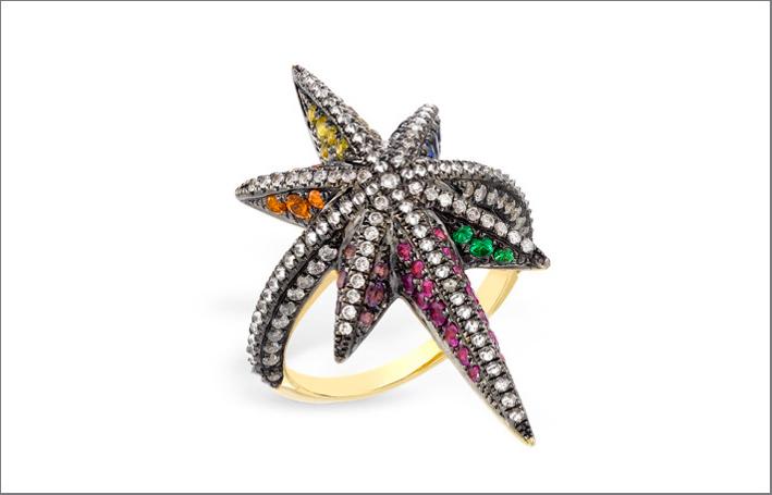 Anello Venyx Star in oro giallo, diamanti, zaffiri gialli, rosa, arancioni e blu, tsavoriti e ametiste