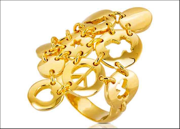 Anello collezione Confetti, argento placcato in oro 18 carati. Prezzo: 99 euro