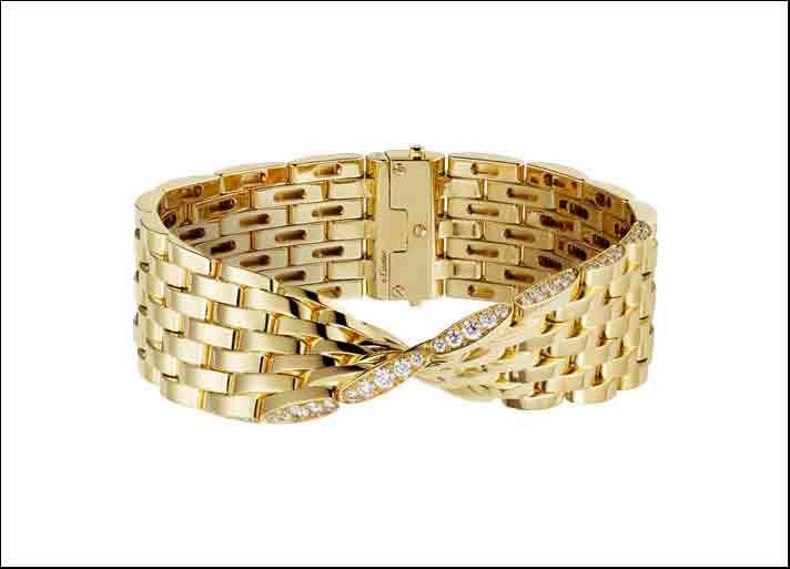 Bracciale della collezione Maillon Panthère Ivresse, in oro giallo e diamanti