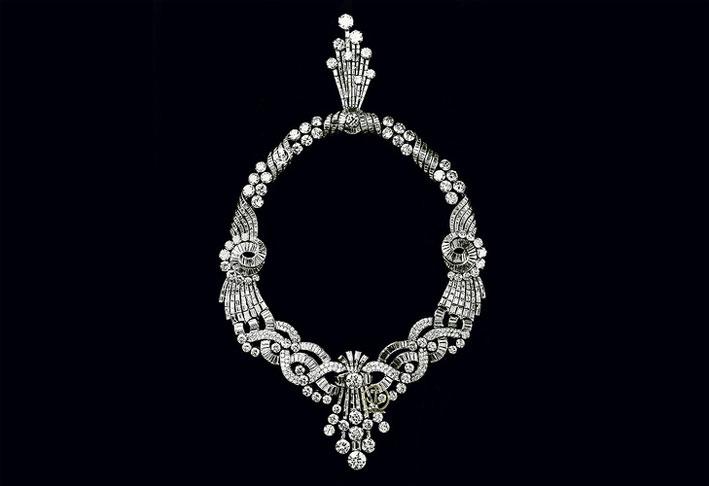 Collana di diamanti e platino del tesoro di re Farouk, indossata dalla prima moglie Farida