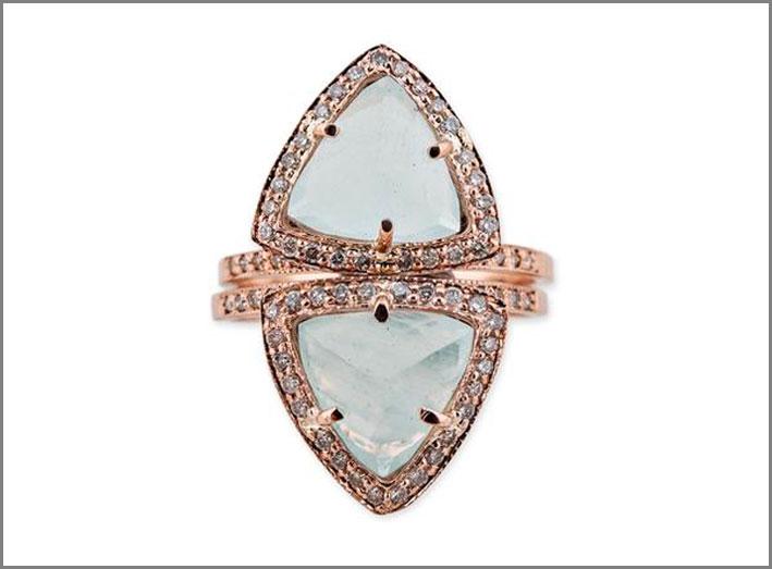Anello con pietra luna, oro rosa, diamanti