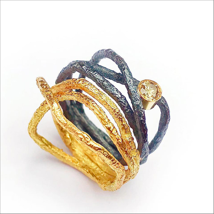 anello oro argento diamante