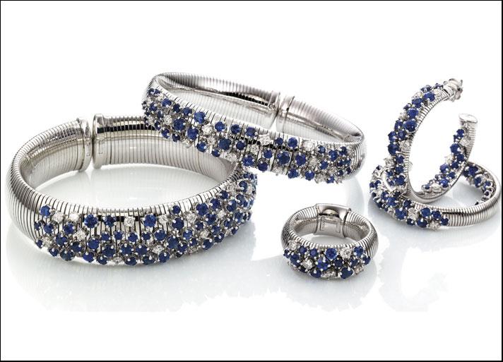 Chimento, collezione Sturdust, oro bianco,  diamanti e zaffiri
