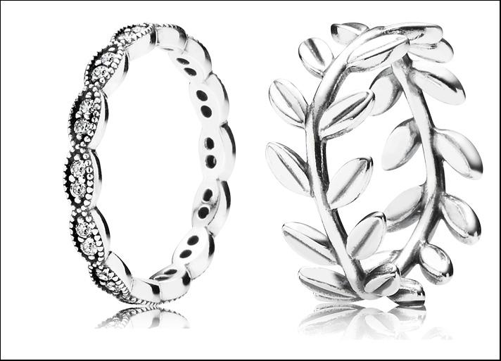 Shimmering Leaves, anello in argento Sterling 925 e zirconia cubica, prezzo 65 euro; anello  con foglie in argento Sterling 925, prezzo 59 euro