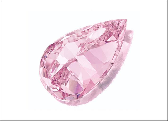 Diamante rosa a forma di pera da 8,41 carati