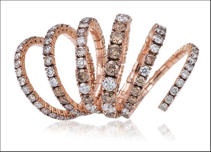 Bibigì, collezione Snake. Oro rosa e diamanti bianchi e brown