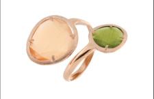Zoppini, Venere d'autunno. Anello in argento 925/00 rosé con pietre sfaccettate occhio di gatto verdi e arancioni. Prezzo: 64 euro
