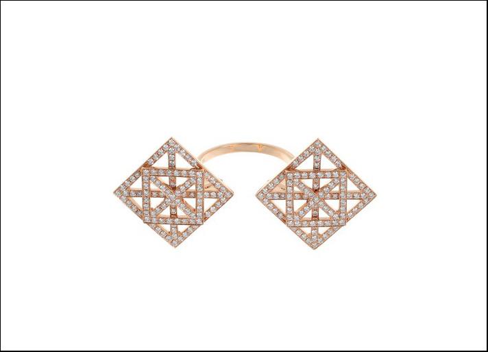 Dauphin, anello in oro rosa e diamanti
