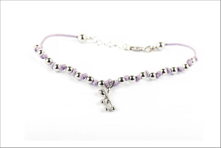 Bracciale in argento e cotone viola