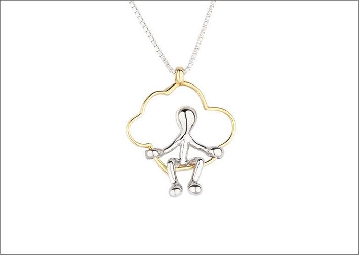 Collana con ciondolo argento e oro