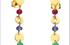 Collezione Confeti di Tous: orecchini in oro giallo con crisoprasio, tanzanite e rubini