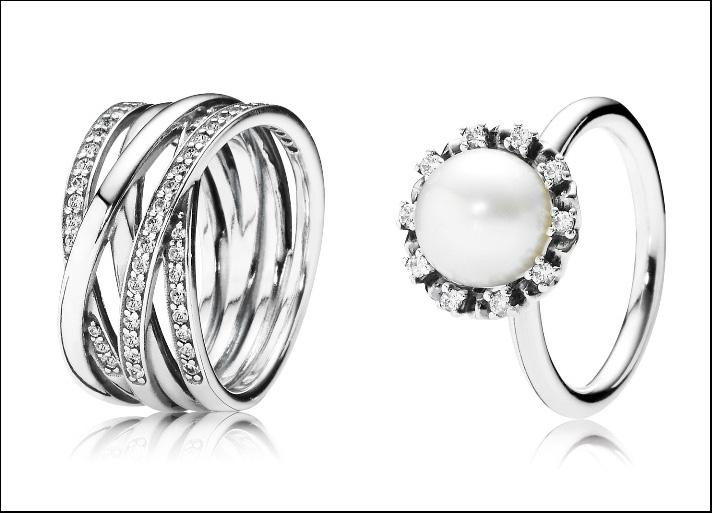 Anello multifascia e anello con perla coltivata d'acqua dolce bianca e zirconia cubica, in argento Sterling 925. Prezzi: 119 e 89 euro