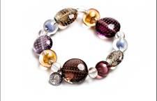 NEW YORK FUTURE, Bracciale in perle di vetro con foglia oro 24 kt o argento puro effetto grattacielo. Metallo e acciaio inox