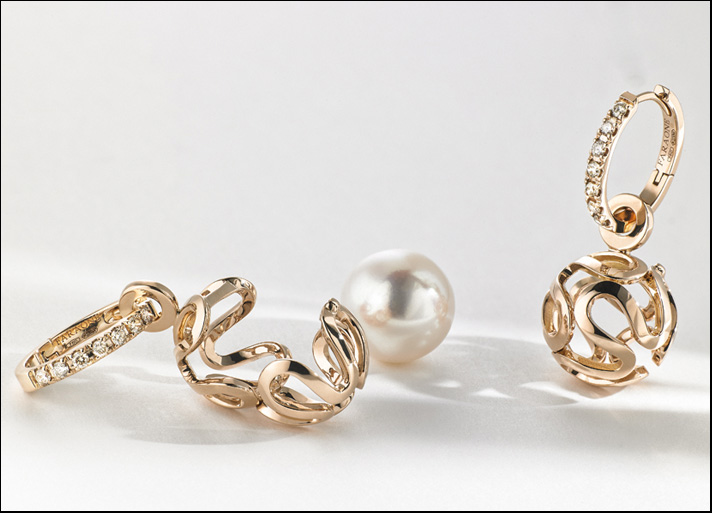 Linea Sfere di Faraone: orecchini in oro rosa con diamanti brown e perla