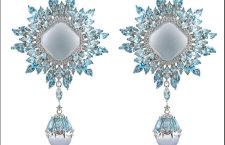 Damiani Vivaldi, orecchini Inverno in oro bianco con calcedonio tagliato cabochon, topazi blu e diamanti bianchi