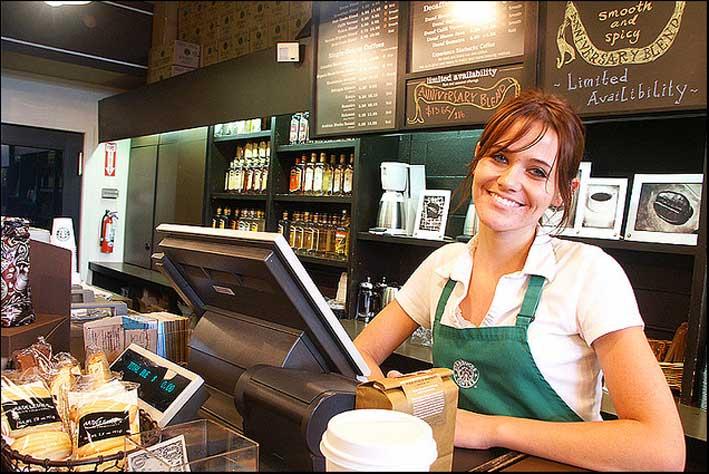 Una dipendente di Starbucks