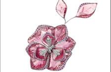 Boucheron, spilla Fleur De Jour in oro bianco con tormalina rosa, cristallo di rocca, diamanti bianchi, e madreperla grigia