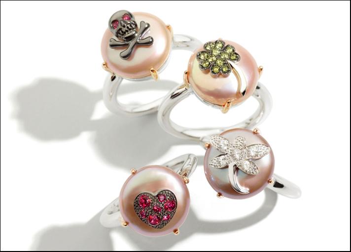 Mimì, anelli collezione Les Lulu in oro, argento, perle e topazi.