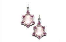 Jar, orecchini pendenti con morganite centrale circondata da rubini taglio rotondo all'interno di un bordo di diamanti. Prezzo realizzato: 360 mila euro