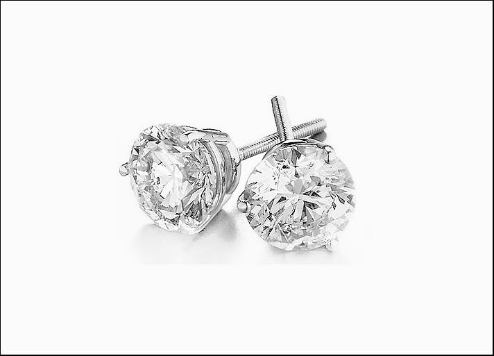 Orecchini di diamante solitario, in oro bianco con chiusura a vite