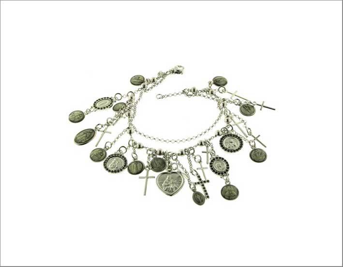 Bracciale in argento multi-ciondolo