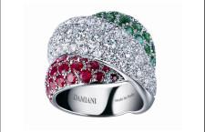 Damiani, anello Gomitolo in oro bianco e pietre tricolore
