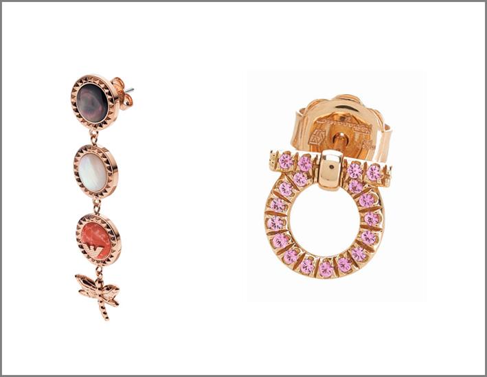 A sinistra, orecchino di Emporio Armani. A destra, orecchino Ferragamo in oro e zaffiri rosa