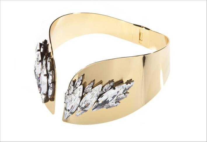 Choker in metallo placcato oro e cristalli