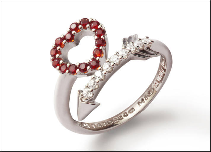 Trilogy MyWorld, anello in bronzo rodiato con zirconi e pietre rosse