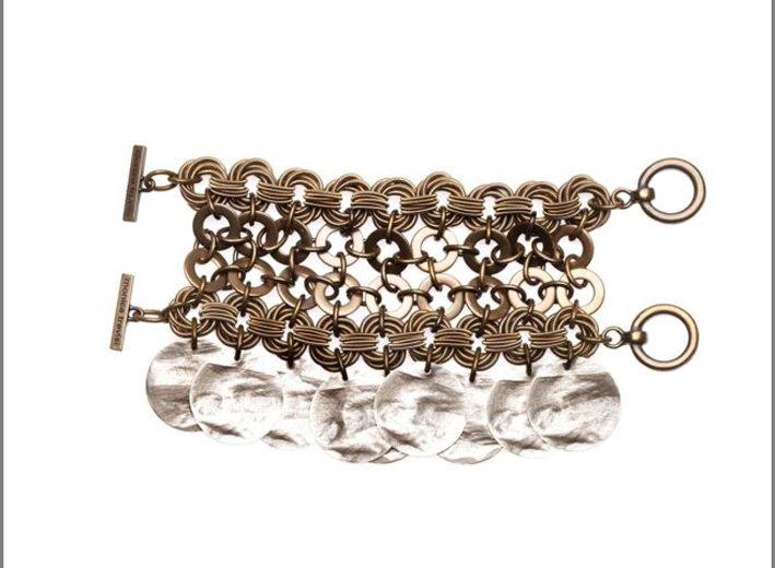 Bracciale in acciaio brunito con medaglie in ottone color argento e chiusura in ottone con marchio inciso