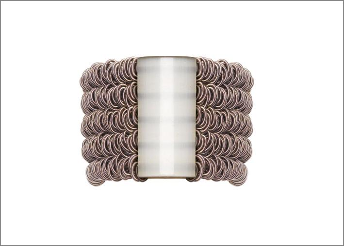 Bracciale in acciaio brunito, vetro lucido giallo pallido, elastico interno