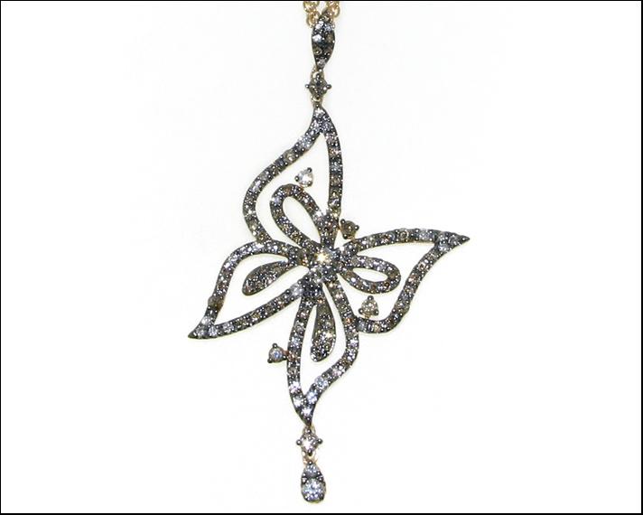 Free Me, ciondolo farfalla in oro rosa 18 carati con diamanti bianchi e brown