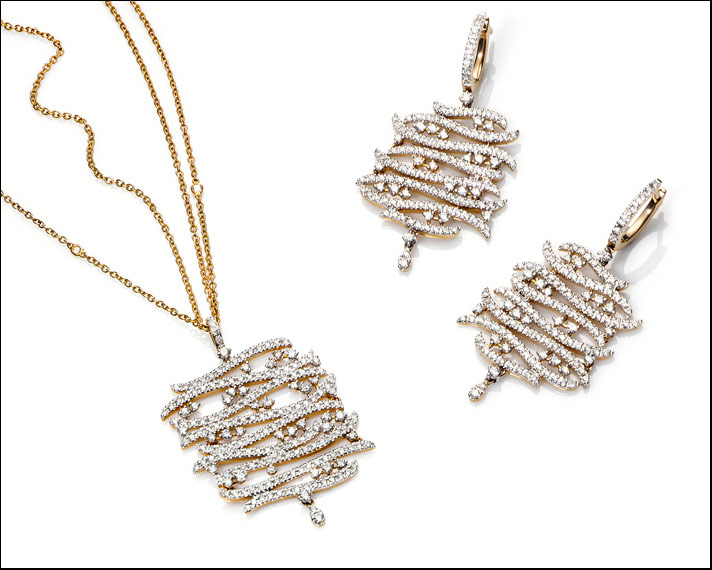Galanías, ciondolo e orecchini in oro rosa 18 carati con diamanti bianchi