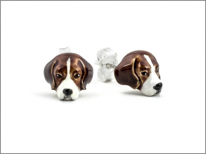 Orecchini con cane Beagle