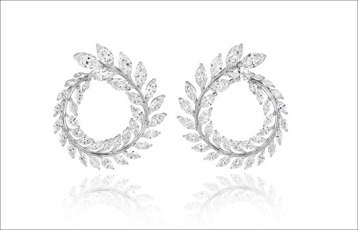 Orecchini in oro bianco 18 carati e diamanti di Chopard