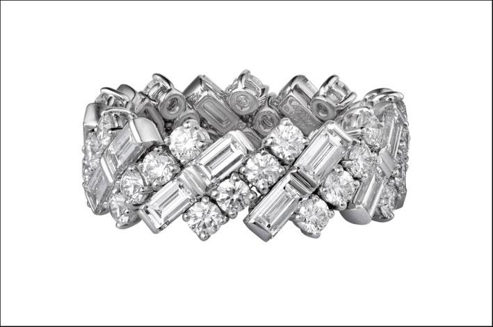 Fede di Cartier, oro bianco e diamanti.