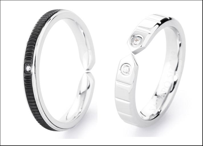 Infinity, anello lucido con pvd nero opaco e cristallo e anello lucido e cristallo. Prezzi: 19 euro