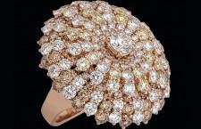 Aurora, anello in oro rosa, diamanti brown e bianchi