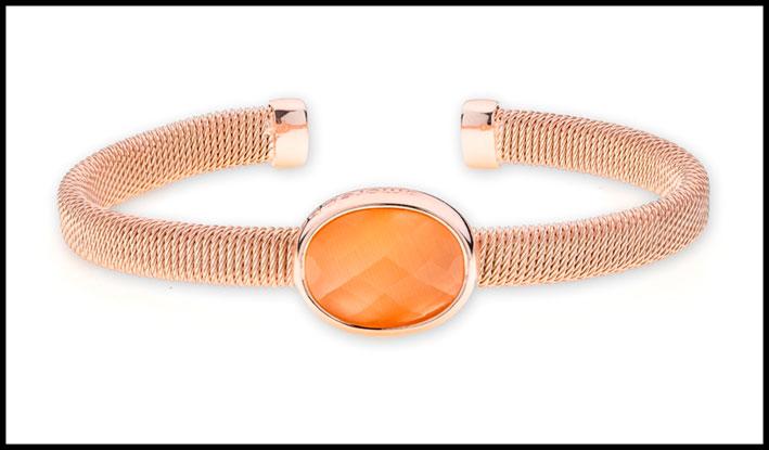Bracciale rigido in argento placcato oro rosa con pietra occhio di gatto arancione: Prezzo:  99 euro