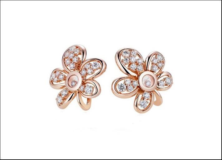 Happy Diamonds, orecchini in oro rosa e diamanti taglio brillante